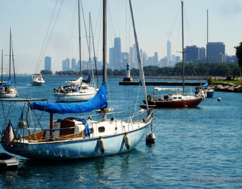 Boats on Lake Michigan